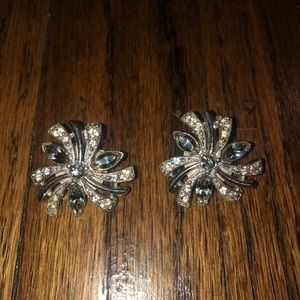 Vintage Bogoff Crystal Clip On Sparkly Earrings